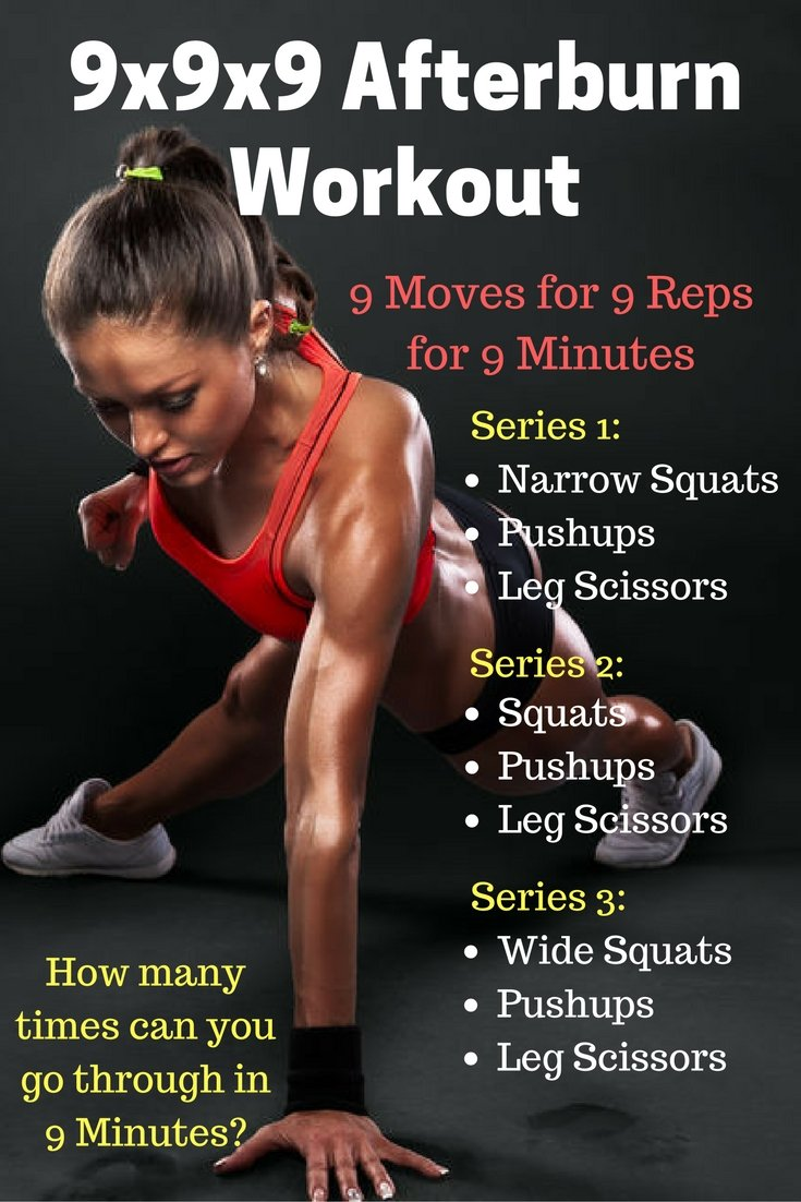 This fitness program is great for at home, on-the-go or even at the office when you have a few minutes to kill! The objective is to go through all 3 series as many times (doing each exercise for 9 reps) as possible in 9 minutes. @DIYactiveH@ #fitness #exercise #workout #weightloss #fatburn #weight #fat #loseweight muscle #EPOC #afterburn