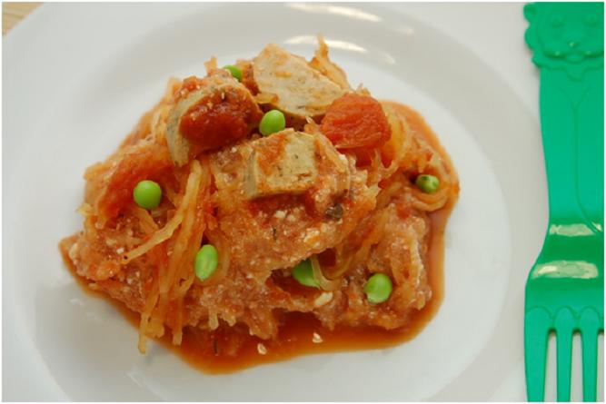 Spaghetti Squash with Vegetarian Sausage summer squash