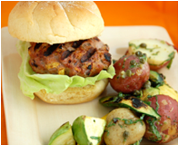 Turkey Burgers with Peaches