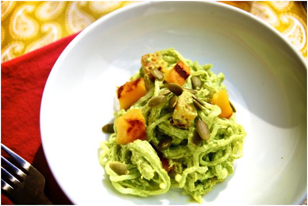 Roasted Pumpkin with Kale Pesto Noodles
