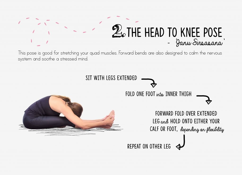 bedtime yoga, relaxation, head to knee