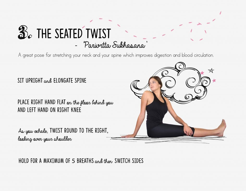 bedtime yoga, relaxation, seated twist