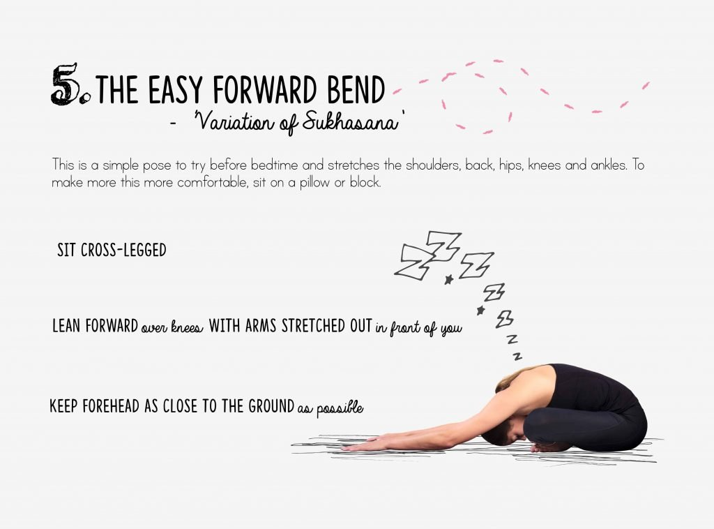 bedtime yoga, relaxation, forward bend