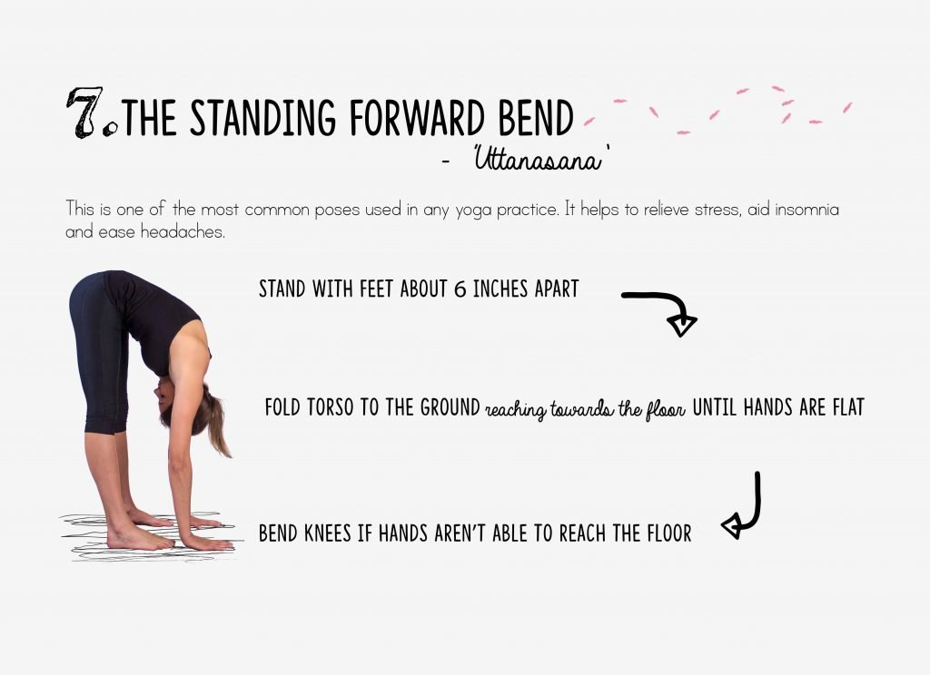bedtime yoga, relaxation, standing forward bend