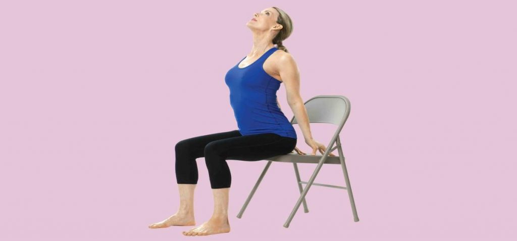 seated back bend, desk yoga